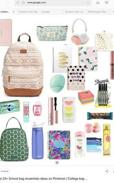 Cositas lindas college backpack essentials, school backpack organization, back to school organization highschool,