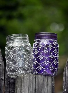 Bohemian Moroccan Mason Jar Tinted Lanterns Lighting Decorated With Henna Designs Party Decor Wedding Bridal Party Events Wine Bottle Art, Glass Bottle Crafts, Diy Bottle, Mason Jar Lanterns, Mason Jars, Glass Lanterns, Glass Painting Designs, Jar Art, Bottle Painting