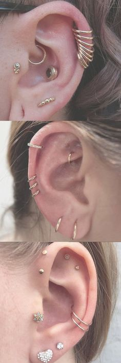 Multiple Gold Ear Piercing Ideas Combinations at MyBodiArt.com - Cartilage Rings, Helix Hoops, Rook Barbell, Conch Studs