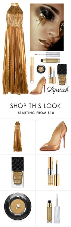 """""""Golden Metallic Lips"""" by kotnourka ❤ liked on Polyvore featuring beauty, Maria Lucia Hohan, Christian Louboutin, Gucci, Yves Saint Laurent, Lancôme, Urban Decay and Kevyn Aucoin"""