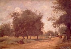 Camille Corot - Rider on a country road