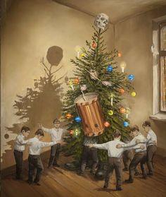 Jarmo Mäkilä Skull And Bones, 21st Century, Finland, Surrealism, Oil On Canvas, Christmas Tree, Holiday Decor, Painting, Skulls