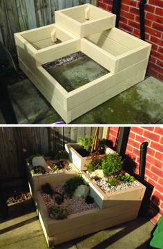 I asked my dad to make me a raised bed planter to sit in a corner and gave him the quickest, roughest sketch and this is the outcome. It's amazing, perfect for our garden and a great home for our alpines. And again painted Country Cream by Cuprinol Shades Raised Planter Beds, Raised Garden Beds, Raised Beds, Wooden Planters, Planter Boxes, Tiered Planter, Diy Pallet Projects, Garden Projects, Pallet Ideas