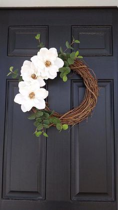 Your place to buy and sell all things handmade Magnolia Flower Wreath Spring Wreath Farmhouse Style Diy Spring Wreath, Summer Door Wreaths, Summer Door Decorations, Holiday Wreaths, Winter Wreaths, Wedding Door Wreaths, Homemade Decorations, Christmas Wreaths For Front Door, Flower Decorations