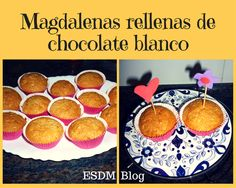 Magdalenas rellenas de chocolate blanco.