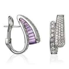 Stefan Hafner Musa 18K White Gold Earrings With Amethyst & Diamonds featured in vente-privee.com