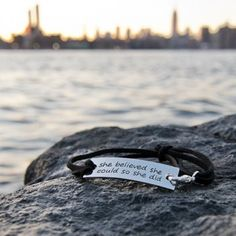 """Inspirational Leather Bracelet """"Nothing is impossible the word itself says {I'm} possible"""""""