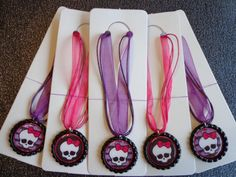 Set of 5 Hot Pink and Purple Monster HIgh Party Favor Necklaces (Group 6)