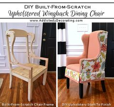 (How To Upholster The Frame, Part 2 DIY Upholstered Wingback Dining Chair – Finished! (How To Upholster The Frame, Part Upholstered Wingback Dining Chair – Finished! (How To Upholster The Frame, Part Diy Furniture Building, Furniture Projects, Furniture Plans, Furniture Makeover, Furniture Design, Dining Chair Makeover, Wood Furniture, Reupholster Furniture, Upholstered Furniture