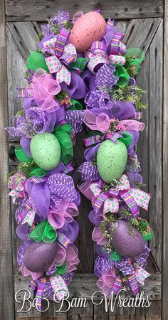 Easter Garland, Easter Door, Easter Decor, Spring Wreath, Spring Decor Make your entry say WOW this Spring! You are viewing a 9' Garland~ complete with an assortment of lavender, pink and green mesh, greenery sprays, florals, Spring ribbons and 5 XXL speckled Easter eggs. This is huge~