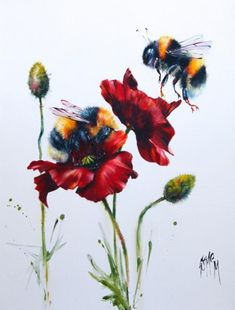 What Jane Saw — Georgina McMaster . Bee Painting, Painting & Drawing, Animal Drawings, Art Drawings, Bee Tattoo, Insect Art, Bee Art, Watercolor Paintings, Art Photography