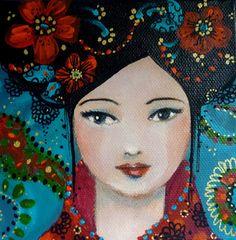 Peinture originale ,acrylique sur toile 3D.Portrait de femme esprit Asie Mina bleue : Peintures par pivoine