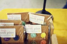 Craft fair - packaging for push pins on cork, very cute!
