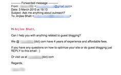 A gem submitted by my friend Anjlee Bhatt! :-) This pitch is terrible for three reasons: - It feels very impersonal. - The recipient's name is in red - Apparently, copying and pasting left the spammer...