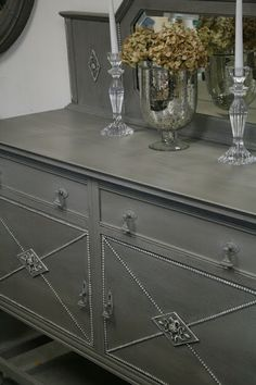 Reloved Rubbish: French Linen Buffet Annie Sloan French Linen with Old White dry brushed on trim.