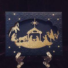 Nativity scene for Christmas, Night of navy card stock, Cuttlebug Baby's Breathe… Christmas Cards 2017, Religious Christmas Cards, 3d Christmas, Christmas Paper Crafts, Christmas Nativity, Xmas Cards, Handmade Christmas, Holiday Cards, Christian Christmas Cards