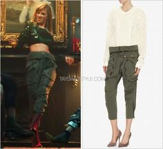 """""""End Game"""" music video   January 12, 2018 Faith Connexion 'Green Zipper Detail Cargo Pants' - $479.00 (sold out, similar) These pants should have looked familiar to most of you, as Taylor has already worn this style in numerous different colours..."""