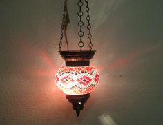 Moroccan lantern mosaic hanging lamp glass chandelier light lampen candle h 085  #Handmade #Moroccan