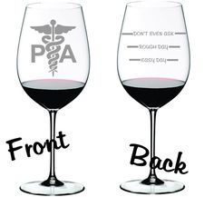 Etched Physician Assistant Glass  Choose From by WulfCreekDesigns