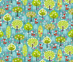 Fox Forest Blue fabric by natitys on Spoonflower - custom fabric. Made purchase of yardage. I love it.