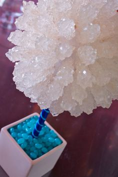 Tiffany Blue Rock Candy Centerpiece Topiary Tree, Candy Buffet Decor, Candy Arrangement Wedding, Mitzvah, Party Favor, via Etsy