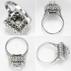 Pt900 ring. D. 0.24ct, 0.87ct, 幅13mm, 8.2g.