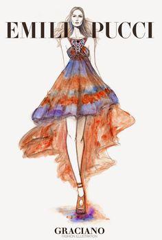 GRACIANO fashion illustration: EMILIO PUCCI SPRING 2015 #MFW