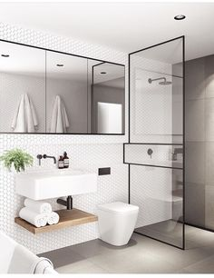Bathroom dreaming ! White small hexagon tiles + Matt black