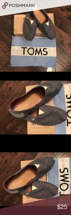 Toms Classics Gray Academy Size 13 shoes 👞 Here is an awesome pair of men's classic Toms they are a size 13.  That style is Grey Academy they look like my son may have worn them once.  Perfect, Perfect, Perfect, only defect as dirt on the soles.  These shoes will impress you :) Happy Poshing !!!! Toms Shoes Loafers & Slip-Ons
