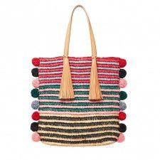 Loeffler Randall Straw Travel Tote in Rainbow raffia Crochet Shell Stitch, Crochet Tote, Basic Crochet Stitches, Crochet Purses, Knit Crochet, Diy Bags Purses, Knit Basket, Art Bag, Knitted Bags