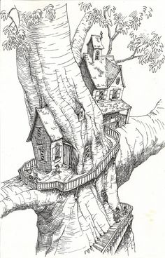 Tree House Coloring Pages Print Fresh Coloring Book World Christmase Coloring Pa. - pencil art & drawings - Tree House Coloring Pages Print Fresh Coloring Book World Christmase Coloring Page House Pages - Fantasy Drawings, Art Drawings Sketches, Fantasy Art, Drawing Art, House Colouring Pages, Coloring Book Pages, Tree House Drawing, Sketchbook Project, Art Reference