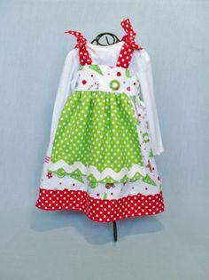 CHRISTMAS DRESS Girls Holiday APRON size 6 mo to 6. $36.00, via Etsy.