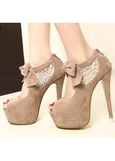Comfortable Peep Top Apricot Suede Stiletto Bow Sandals  on sale only US$15.99 now, buy cheap Comfortable Peep Top Apricot Suede Stiletto Bow Sandals  at martofchina.com