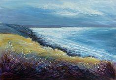 Night Shimmer over Widemouth Bay 50 x 70 cm oil on paper, framed  SOLD www.sueread.co.uk