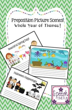 Speech Time Fun: Preposition Picture Scenes! Whole year of themes!