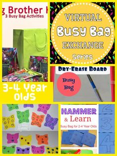 Roundup- Busy Bags for 3 and 4 year olds Great ideas for keeping 3 and 4 year olds entertained!