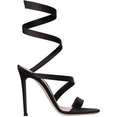 Gianvito Rossi Women 105mm Silk Satin Warp Around Sandals found on Polyvore featuring shoes, sandals, heels, sapatos, обувь, black, high heel shoes, black heeled shoes, high heeled footwear and gianvito rossi