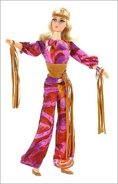 1971  Live Action Barbie brought flower power to the now-classic doll with bell bottoms and maxi skirts. Once again, the doll's face was adjusted: This time, the eyes were made to look forward.