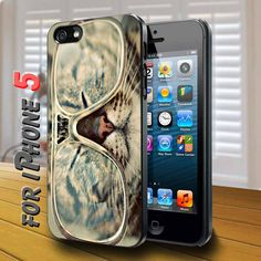 glasses big cat Black Case for iphone 5