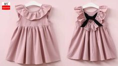 DIY Designer Baby Frock With Ruffled neck Pattern Full Tutorial Frocks For Babies, Baby Girl Frocks, Frocks For Girls, Dresses Kids Girl, Kids Outfits, Girls Frock Design, Kids Frocks Design, Baby Frocks Designs, Baby Dress Design