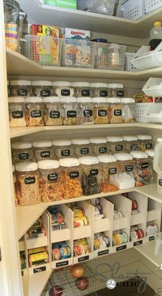 Pantry organization using cans for food storage
