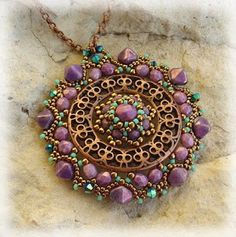 Filigree focal with seed bead embellishments. Filigree Jewelry, Beaded Jewelry, Jewelry Bracelets, Beaded Necklaces, Jewlery, Badge Holders, Diamond Are A Girls Best Friend, Bead Weaving, Seed Beads