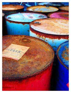 oil barrels . #color
