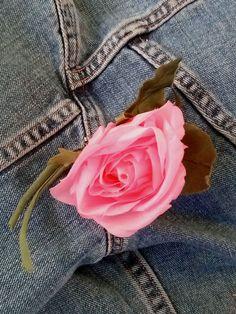 Vintage 1960s Silk Flower Pink Rose Boutonnière by bycinbyhand