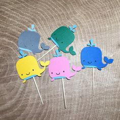 24 Whale cupcake toppers Nautical Theme Party by EllaBelllaDesigns