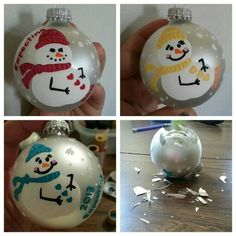 Hand painted pregnant snow lady Christmas tree bulbs