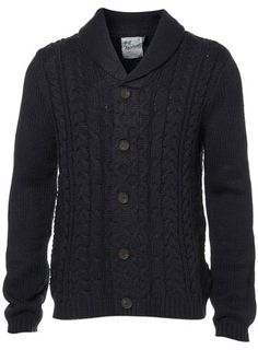Navy Elbow Patch Cable Knit Cardigan