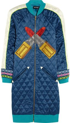 House of Holland Embroidered quilted satin coat on shopstyle.com