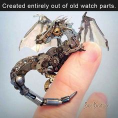 Made entirely out of watch pieces