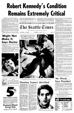 """Coverage of the assassination of Robert F. Kennedy, published in the Seattle Daily Times (Seattle, Washington), 5 June 1968, page 1. Read more on the GenealogyBank blog: """"Robert F. Kennedy Dies after Shooting."""" https://blog.genealogybank.com/robert-f-kennedy-dies-after-shooting.html"""